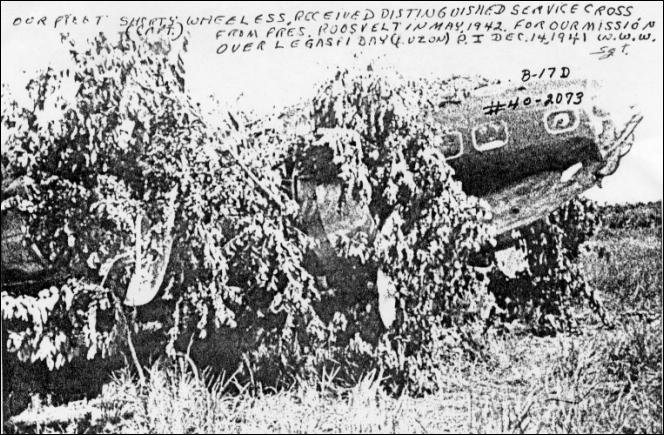 B-17D Flying Fortress with tail #40-2073 Crash landed on parade field, Cagayan de Misamis