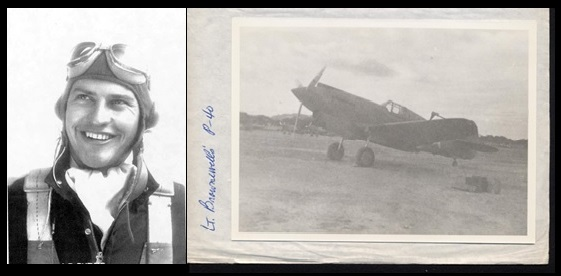 Lt. John P. Burns and the Curtiss P-40 Warhawk that he used when he died.