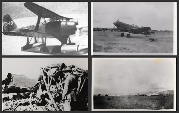 "Clockwise: (1) A Japanese ""Pete"".  The Mitsubishi F1M2 is a two seater Bi-plane manned by a pilot and a rear gunner.  It is a multi-role aircraft that is used by the Japanese as an observation plane, bomber, and fighter.  (2) The last functioning P-40 on that day was used by Lt. Brownewell  to shoot down one of the four ""Pete"".  It was refueled and armed when Lt. Burns took off, only to crash upon take off killing Lt. Burns.  (3) The Del monte Airfield with 2 transport planes.  (4) American soldier checking out the wreckage of the Japanese plane that was shot down by Lt. Brownewell over Dalirig."
