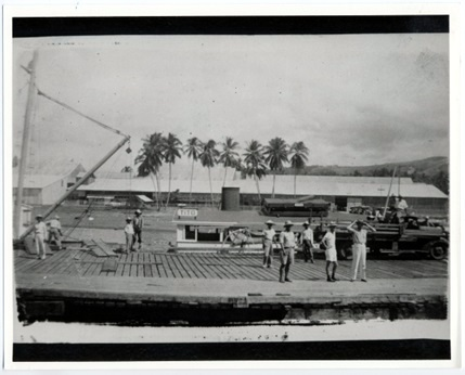 A Photograph of the partly hidden M/S Tito in the Bugo Docks.  Picture must have been taken during low tide as the dock obscured most of the boat's profile.  Picture taken in 1941.