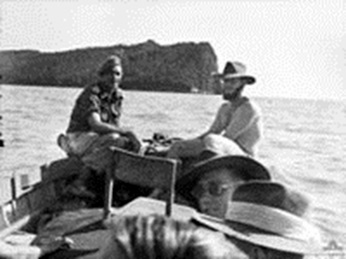 Jock McLaren (at left) returning to Berhala Island in October 1945.